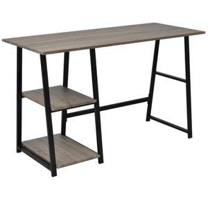 BUREAU  Bureau avec 2 étagères Gris et chêne Table de bure