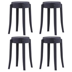 TABOURET DE BAR vidaXL 4 pcs Tabourets empilables Noir Plastique