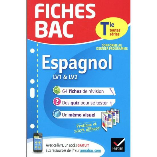 Livre Fiches Bac Espagnol Terminale Lv1 Lv2