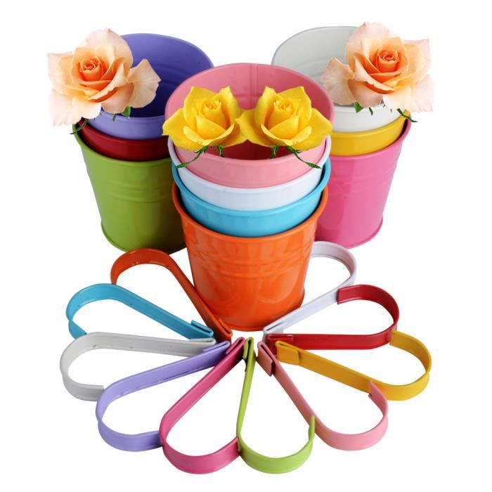 LOT 10pcs Pots de Fleurs Exterieur à Accrocher en métal Amovible et Colorés pour Balcon Jardin Maison