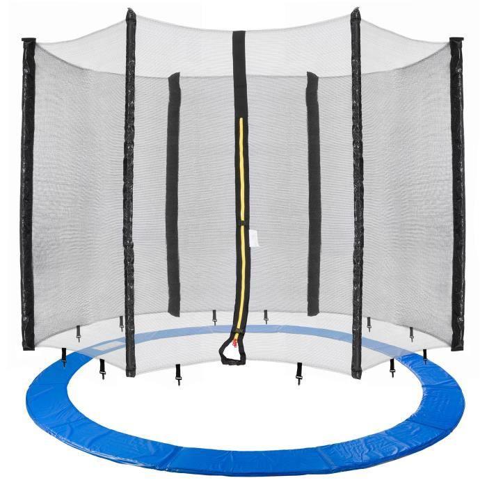 Arebos 490cm Couvre-Trampoline + filet convient pour 6 poteaux nets