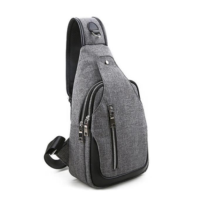 Sac à bandoulière homme en nylon multi-usages Léger Respirant Imperméable pour Voyage Sac Randonnée Camping Backpack Sacoche - gris