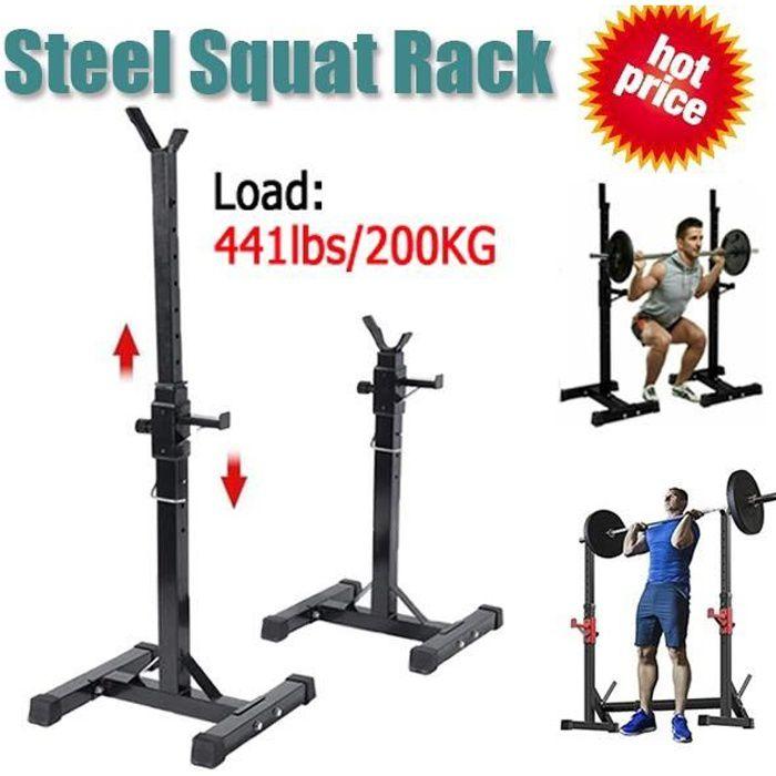 Cage de Squat Support de Squat Réglable Squat Rack Avec Barre de Support pour Haltères-Charge Max.200kg-15 niveaux de réglages