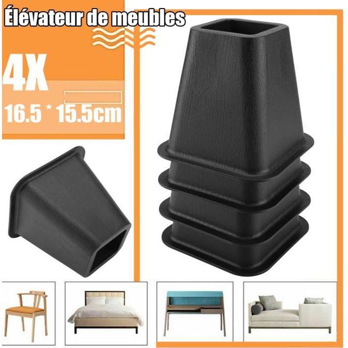 Lot de 4 rehausseurs de lit ou de meuble Pied Rehausseur de Meuble Pied de meubles Riser