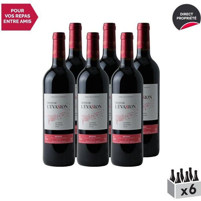 Château l'Évasion Médoc Rouge 2019 - Lot de 6x75cl - Vin AOC Rouge de Bordeaux - Cépages Merlot, Cabernet Sauvignon