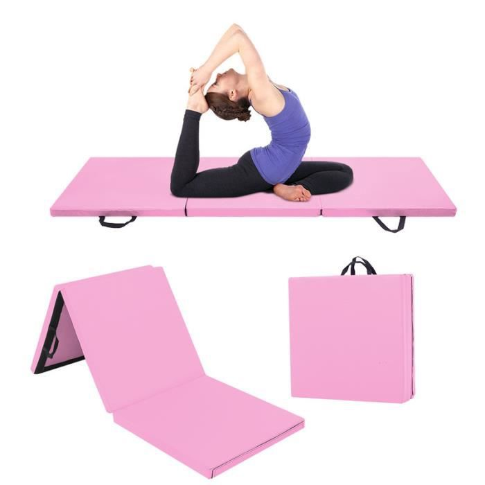 180x60x5cm Tapis de Gymnastique Epais - Matelas Gymnastique - Tapis Sol Gymnastique - Tapis Gymnastique Pliable Rose
