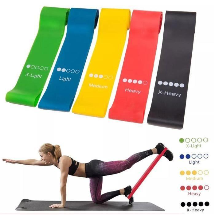 Bande Elastique Fitness Bande de Resistance - Set de 5 Pilates Yoga et physiothérapie Élastiques Bandes en Latex Fitness