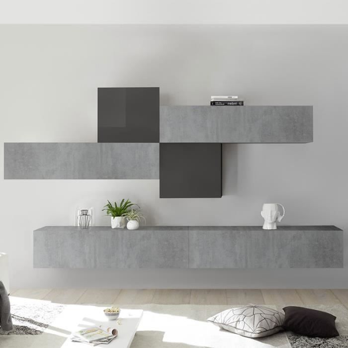 Meuble TV suspendu gris design PAPIANO Gris L 275 x P 30 x H 200 cm