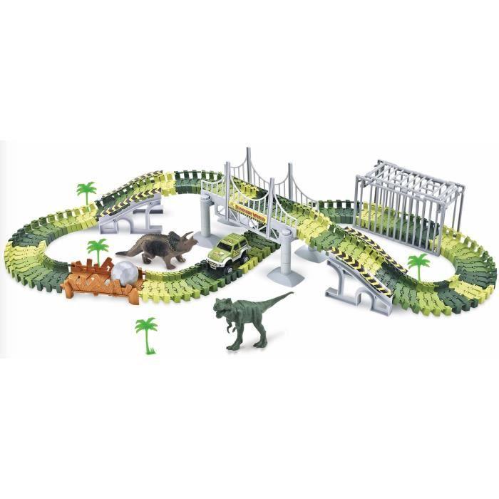 PIFUN Circuit flexible Dinosaures 144 rails + 1 voiture Passerelle / Cage / Bifurcation / Pont suspendu / rampes / Boule / 2