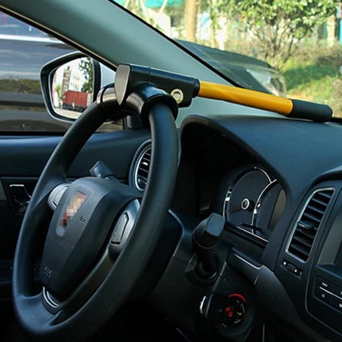 Antivol - Bloque Roue - Car Anti-theft Lock - Antivol Auto - Verrouillage du volant multifonction - Longueur 35 cm - Jaune