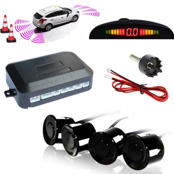 Kabalo Dispositif de sonnerie de marche arrière et capteurs de voiture LED. Détecteur de sécurité 4pcs Noir