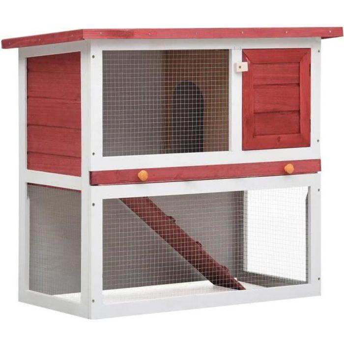 Clapier d'extérieur - Cage Clapier lapin Extérieur Petits animaux Enclos - 1 porte Rouge Bois