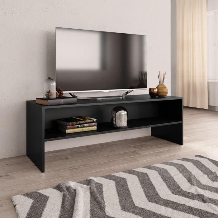 Meuble TV banc télé design vintage scandinave Meuble de salon MEUBLE HI-FI - Noir 120 x 40 x 40 cm Aggloméré