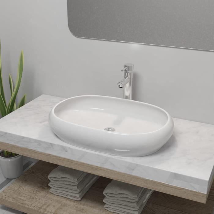 Vasque Salle de Bain Lavabo Vasque en Céramique Blanc Vasque à Poser Ovale Blanc -RUR