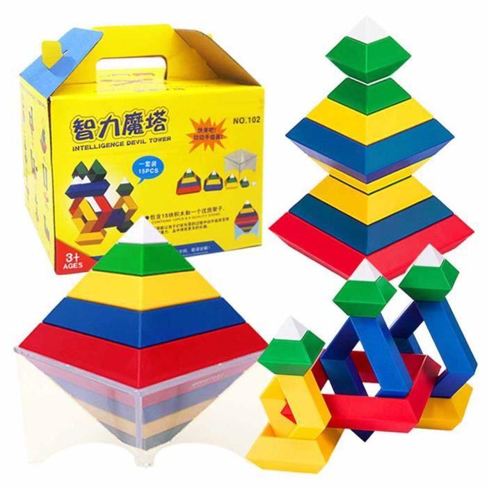 PAR---Jouet d'assemblage pour enfants, Blocs Construction de Pyramide Assemblée DIY Puzzle Cube Magie Jouet Éducatif