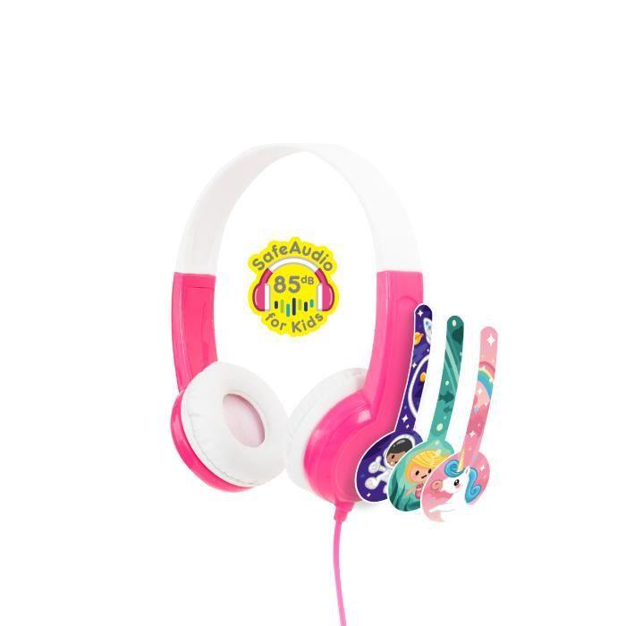 Casque audio filaire sécurisé pour enfant Buddyphones DISCOVER Rose