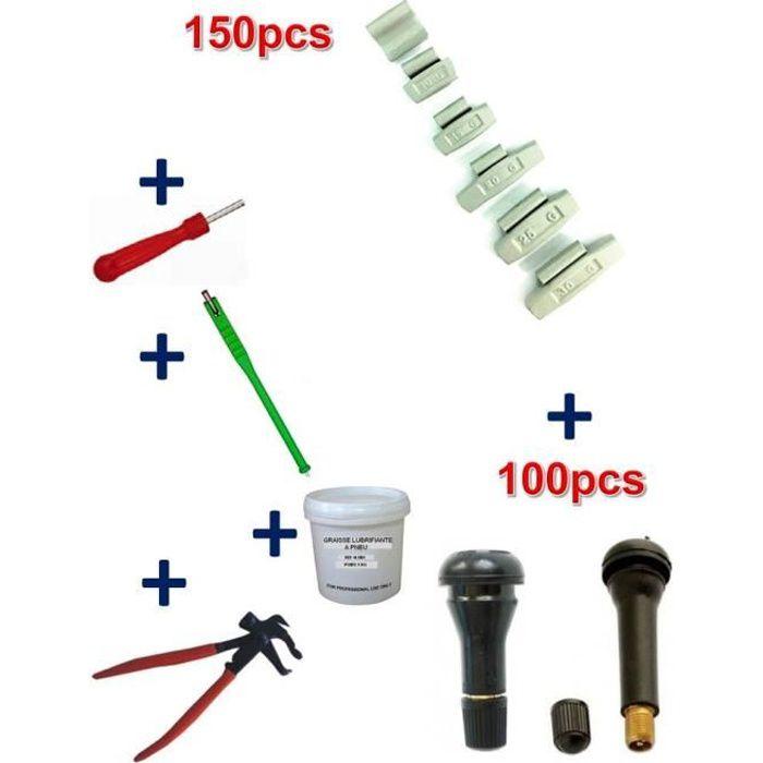 Kit 150 Plombs Masses d'Equilibrage à Frapper 5 à 30gr +100 Valves TR413-414 + Tire Valve + Démonte Obus + Graisse Pneu + Pince