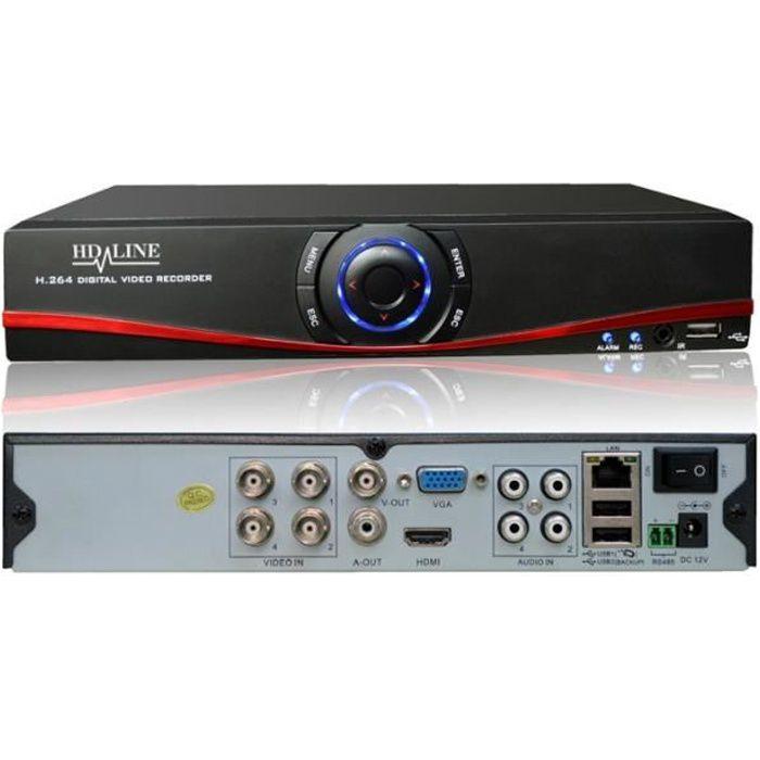 Enregistreur DVR 4 sorties Hybride AHD et IP - H.264 Vidéosurveillance caméras AHD 960P et IP 1080P