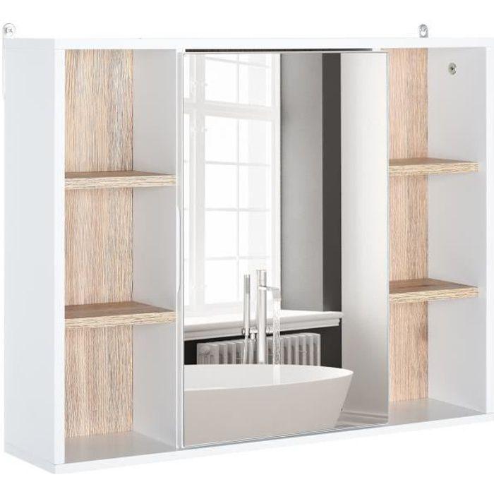 Miroir de salle de bain avec placard et étagères - 4 étagères latérales + 2 étagères intérieures - MDF panneaux particules blanc
