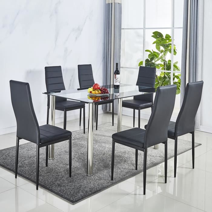 Lot de 6 chaises de salle à manger en simili, Chaise de cuisine,cuir artificiel, Style contemporain, noir, 6 pcs-Mondeer