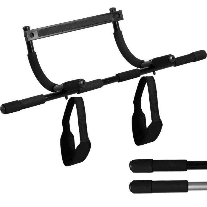 MOVIT Barre de traction noire, sans perçage, avec sangles de suspension et support, pour cadre de porte 60 à 80cm