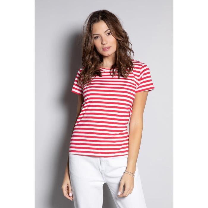 DEELUXE T-shirt marinière à col rond TRUSTRIPES Red Stripes