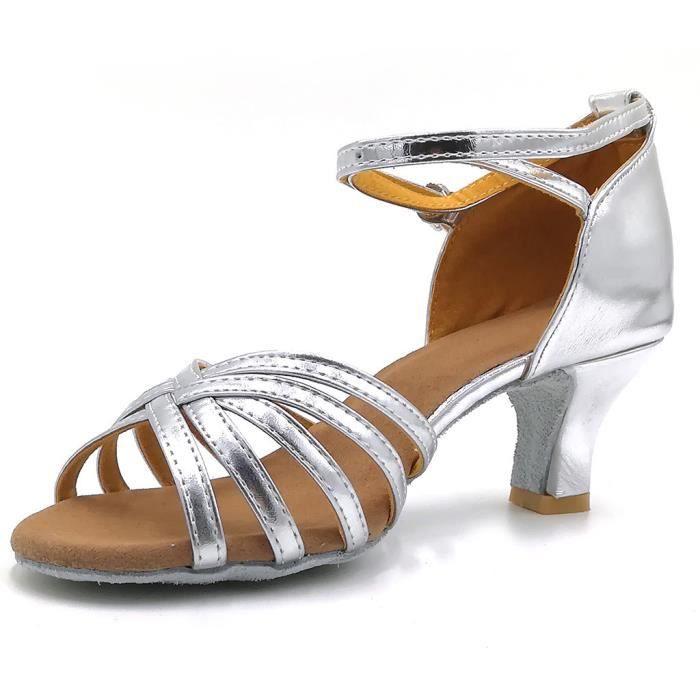 Femmes couleur mode Rumba valse bal salle de bal latine Salsa chaussures de danse sandales argent