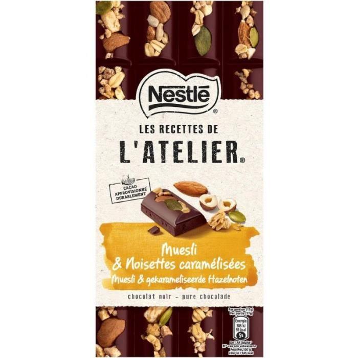 Nestlé Les Recettes de l'Atelier Muesli & Noisettes Caramélisées Chocolat Noir 170g (lot de 10)