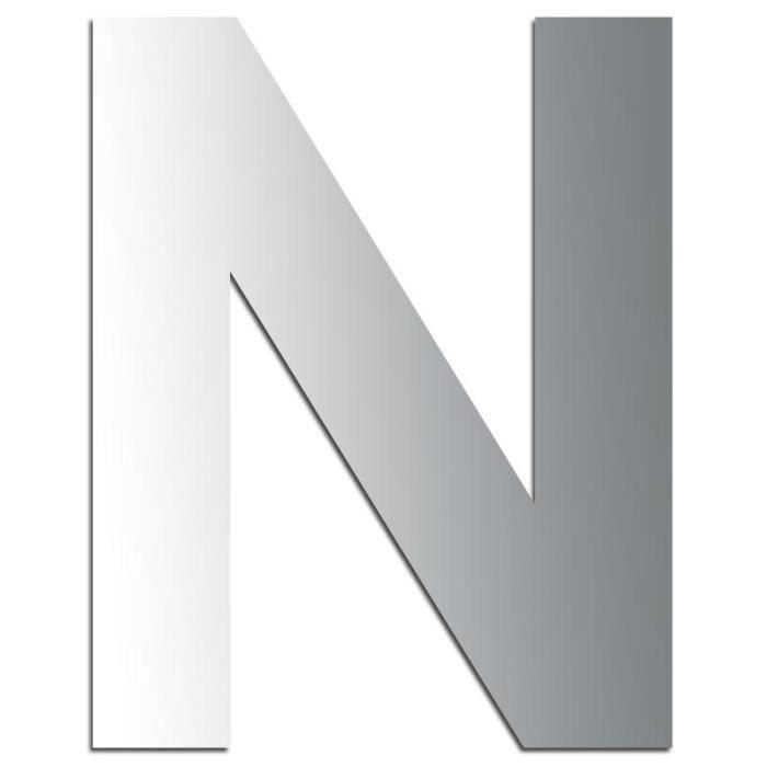 Miroir adhésif lettre N majuscule - 3,2 cm Matière : Miroir acrylique - Plastique réfléchissant Dimensions : 32 x 27 mm