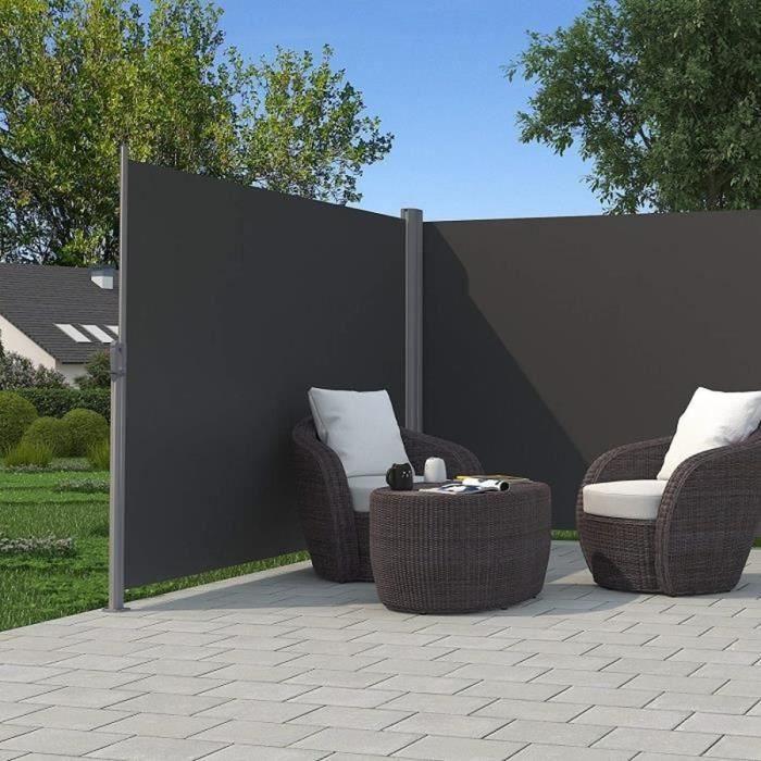 Paravent extérieur rétractable 600 x 160 cm (L x H), toile en Polyester 280 g/㎡, Gris, GSA320G SONGMICS