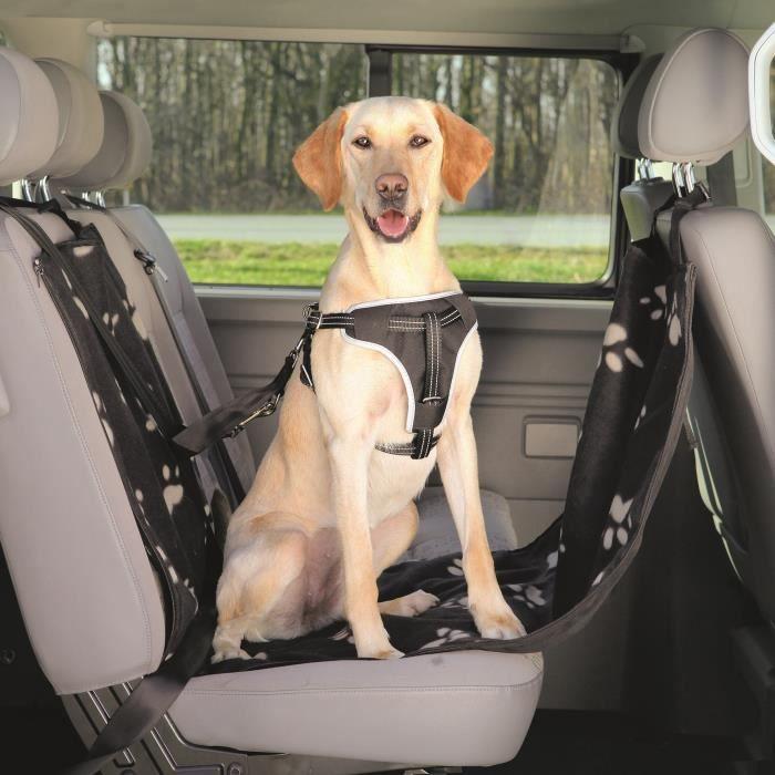 TRIXIE Couverture pour sièges de voiture - 0,65x1,45m - Noir et beige - Pour chien