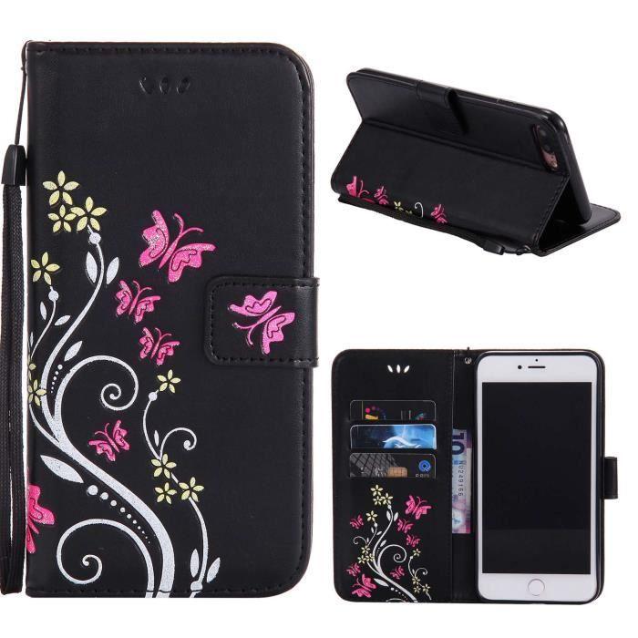 etui pour iPhone 7Plus - iPhone 8Plus Noir, Premium les boîtiers de cartes et housse de Flip pochette