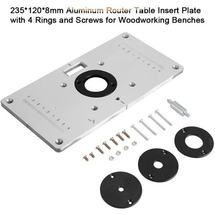 Aluminum routeur Table Plaque Insérer Pour charpenterie avec 4 Router Insert Rings + set vis de fixation Pour charpenterie--DQ