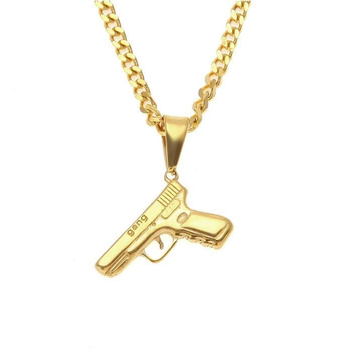 Lot pendentif Pistolet en Argent 925 Cha/îne 45cm en Argent 925