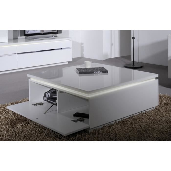 Table basse blanche laqu e avec clairage electro achat for Table basse blanche design