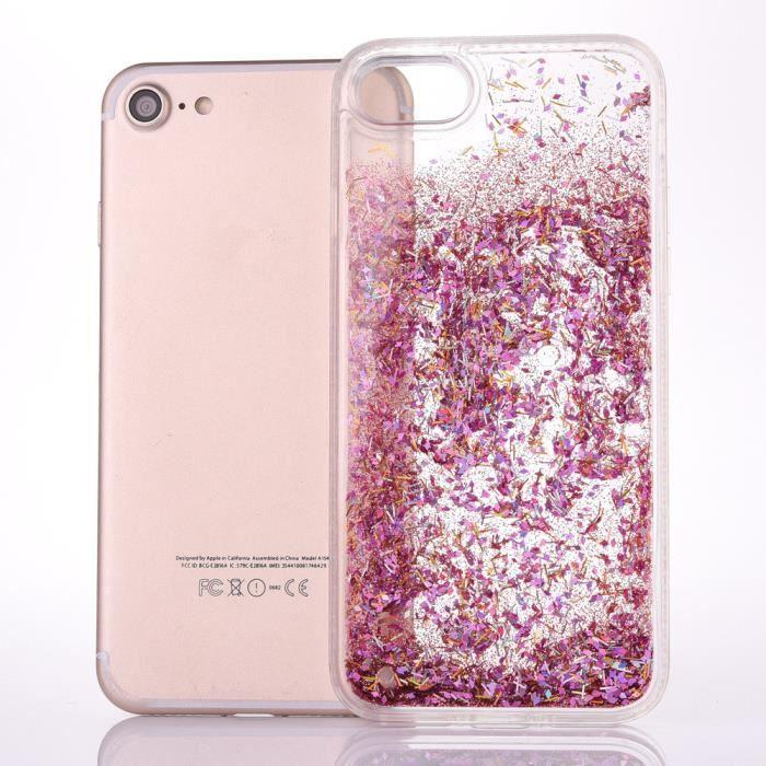 COQUE IPHONE 5 SE, paillettes rose - 1410x - réf : 11331 ...
