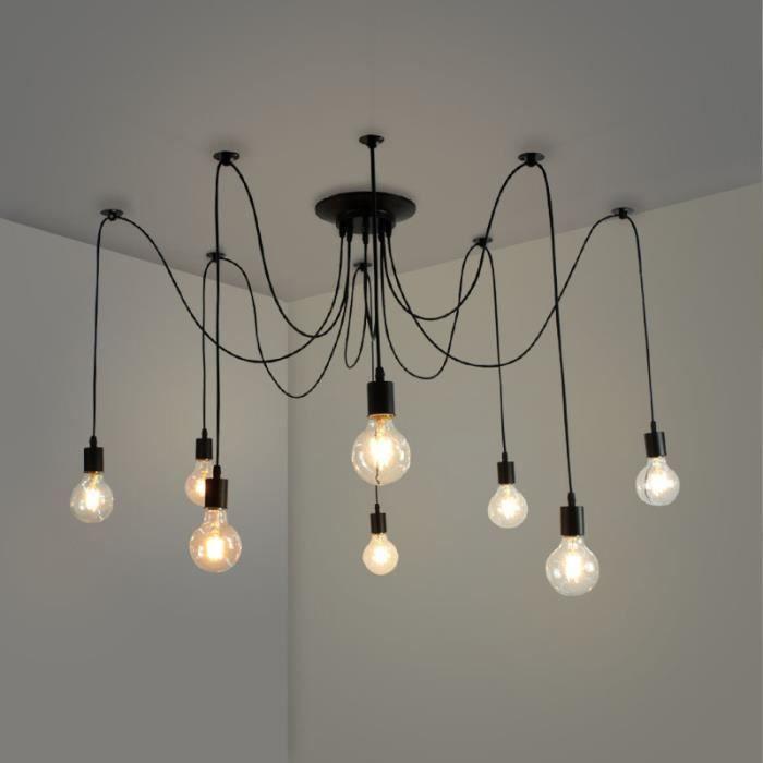 9 Tête E9 Lampe plafonnier Lustre Suspension luminaire industriel adulte  pour salon chambre salle a manger noir led design moderne
