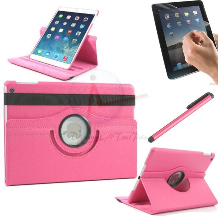 housse coque etui cuir fushia pour ipad mini 1 2 3 rotative 360 stylet film prix pas cher. Black Bedroom Furniture Sets. Home Design Ideas