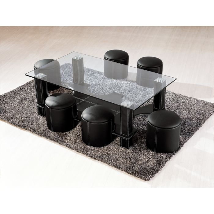 table basse avec 6 poufs galo en verre noir achat vente table basse table basse avec 6. Black Bedroom Furniture Sets. Home Design Ideas