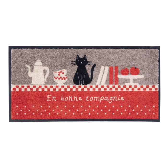 tapis de cuisine bonne compagnie gris rouge motif chat antid rapant id e cadeau original pour. Black Bedroom Furniture Sets. Home Design Ideas