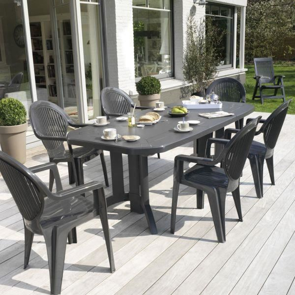 table de jardin vega 220 grosfillex anthracite achat. Black Bedroom Furniture Sets. Home Design Ideas