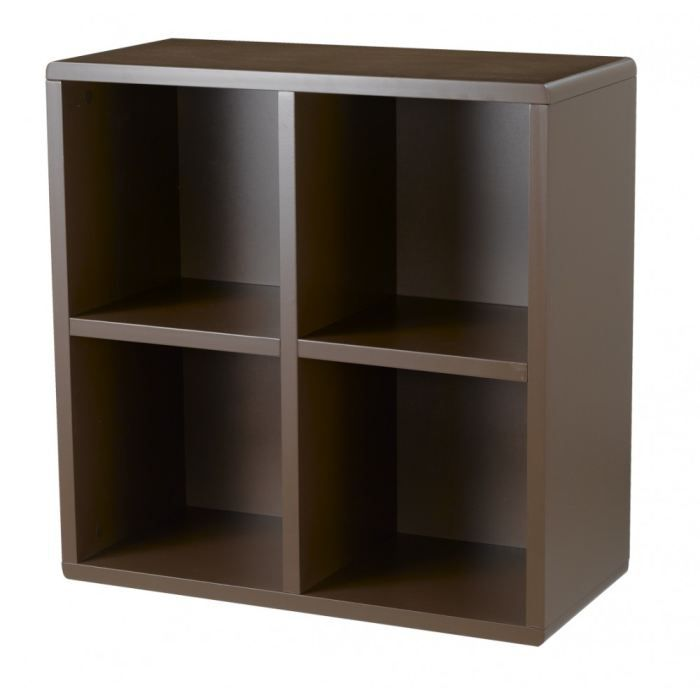 Cube de rangement 4 cases chocolat id 39 clik achat vente for Meuble 4 cases but