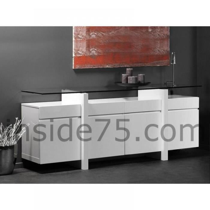 buffet design laqu blanc et verre tremp 12mm achat vente buffet bahut buffet design. Black Bedroom Furniture Sets. Home Design Ideas