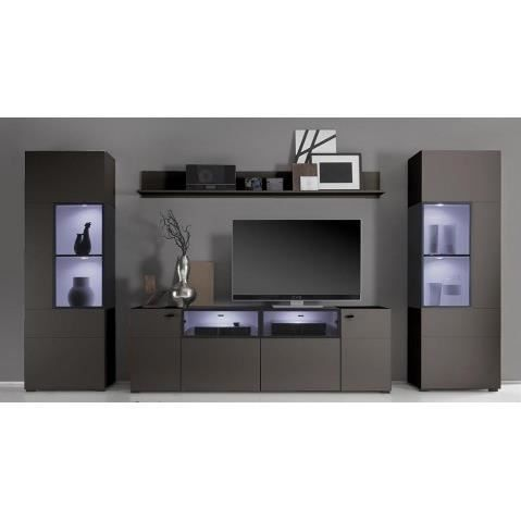 ensemble meuble tv design gris anthracite a led multicolore alex 350 cm achat vente meuble. Black Bedroom Furniture Sets. Home Design Ideas