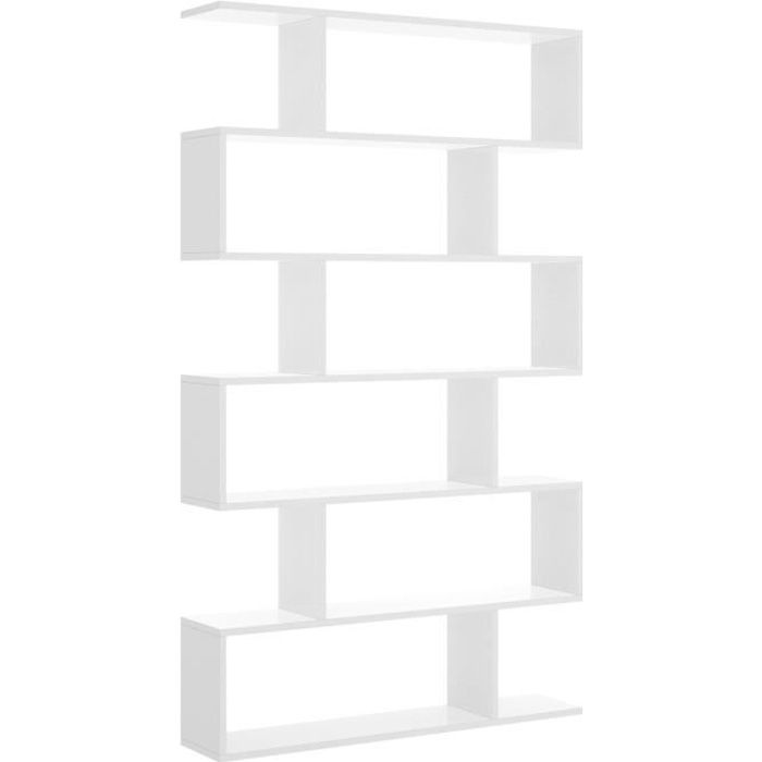 meuble etagere decor blanc brillant l 80 x p 25 x h 190 cm lis