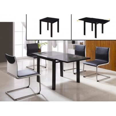 Table extensible amilada 4 6 couverts verre achat for Table haute 6 couverts