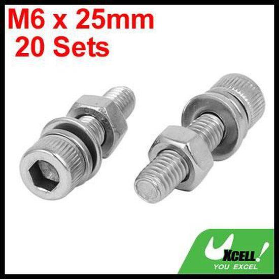 sourcingmap M5x14mm Acier inox 304 vis t/ête Hex creuse /écrous rondelles 15 sets