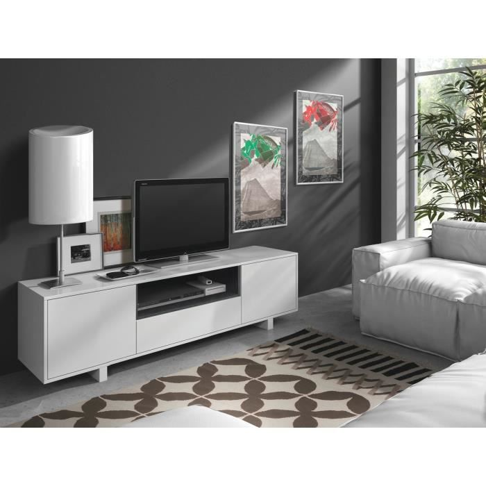 Aura meuble tv contemporain en bois blanc brillant l 155 for Meuble living blanc