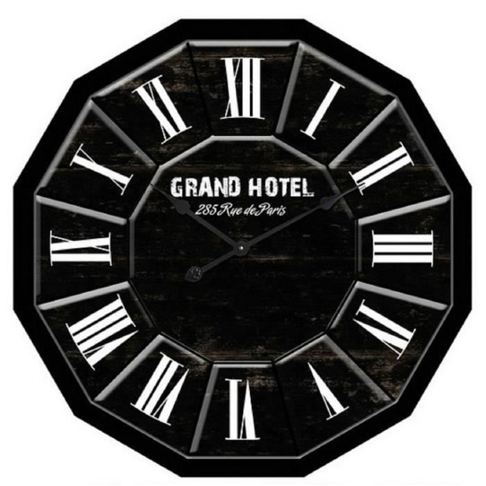 horloge grand hotel murale en bois 80 cm noir achat vente horloge bois cadeaux de no l. Black Bedroom Furniture Sets. Home Design Ideas