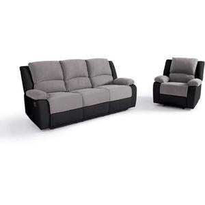 CANAPÉ - SOFA - DIVAN RELAX Ensemble de canapé relax 3 places + fauteuil